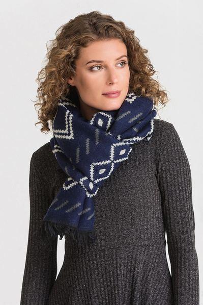 Темно-синий шарф двусторонний абстракция