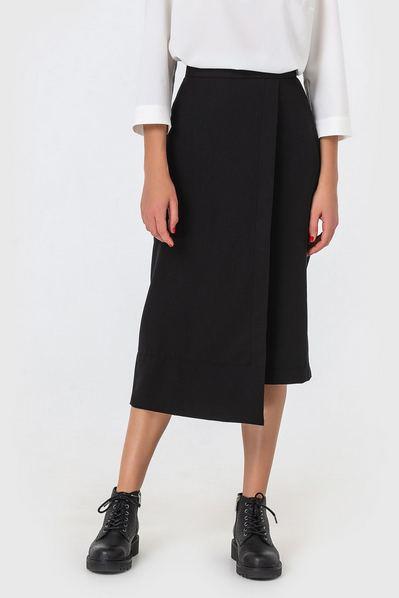 Асимметричная юбка черная из костюмной ткани