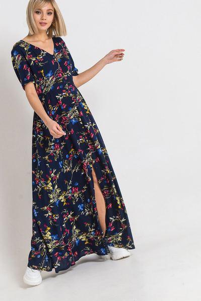 Темно-синее длинное платье с завязками на поясе цветочный принт