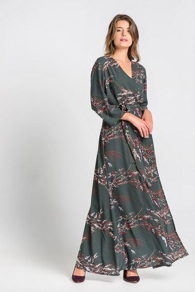 Длинное платье с запахом из креп-сатина с принтом веточки на изумрудном