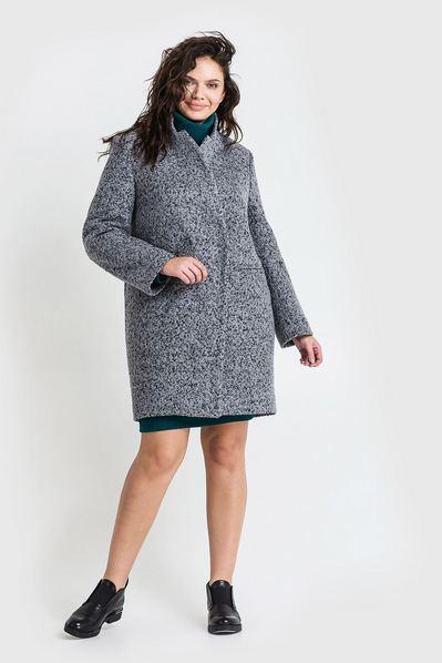 Женское пальто зимнее шерсть букле графитово-черное большой размер