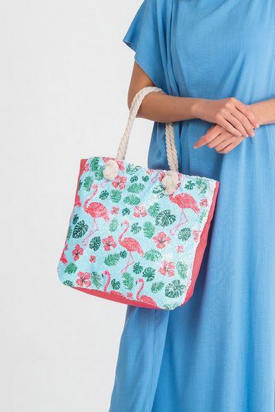 Пляжная сумка в пайетках с принтом фламинго