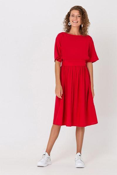 Красное миди платье штапель с поясом