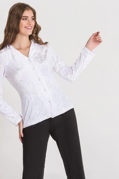 Белая блуза из велюра
