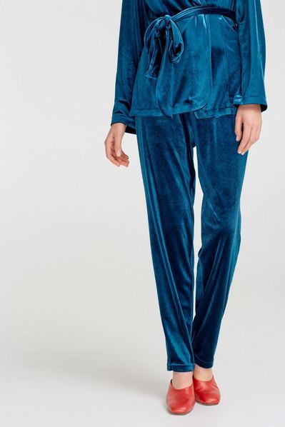 Женские брюки велюровые морская волна
