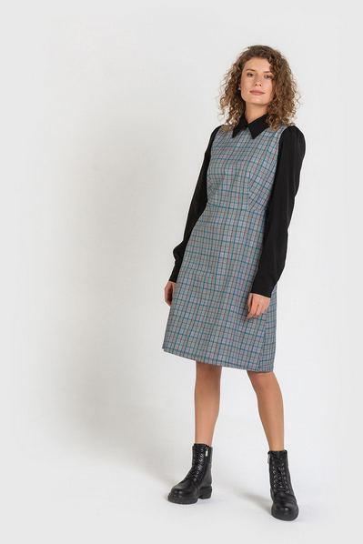 Короткое платье в клетку изумрудно-черную на графитовом