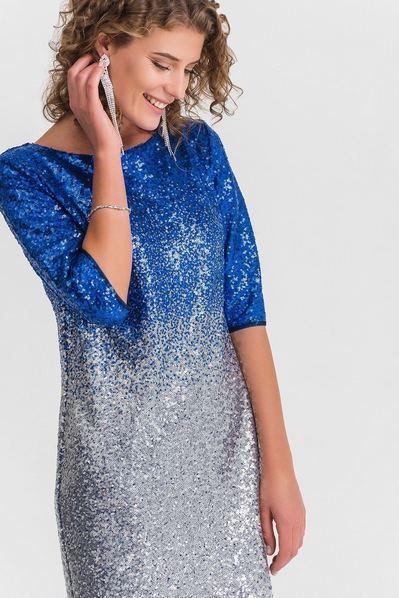 Вечернее платье в пайетки сине-серебристый градиент