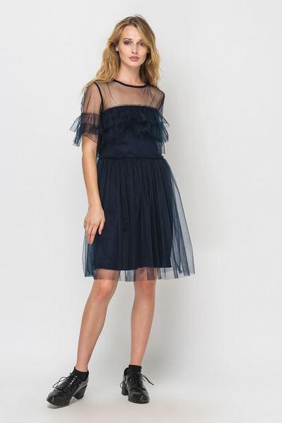 Темно-синее платье мини с оборками