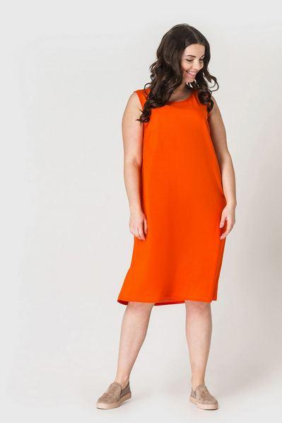 Оранжевое платье майка из штапеля большой размер