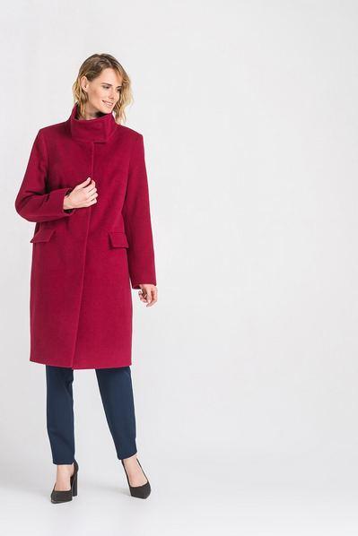 Женское пальто прямое с воротником стойкой из кашемира ягодное