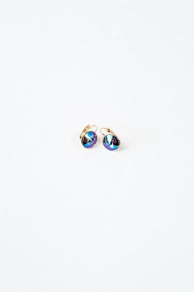 Сережки золотистые с кристаллом Swarovski сине-зеленым