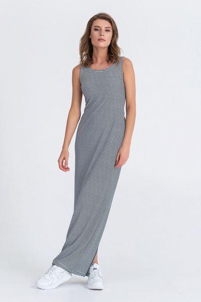 Длинное платье с открытой спиной в молочно-синюю полоску