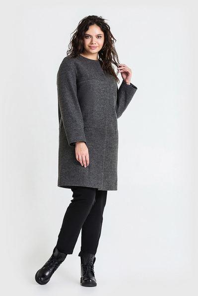 Женское пальто с кокеткой без воротника из кашемира графитовое большой размер