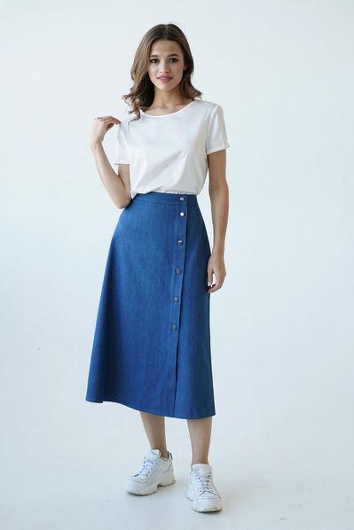 Женская юбка с боковым разрезом синяя