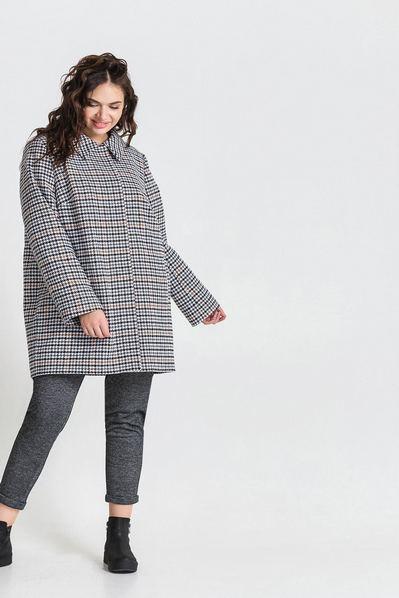 Зимнее пальто с воротником принт гусиная лапка на молочном большой размер
