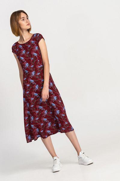 Штапельное платье миди голубые цветы на бордовом