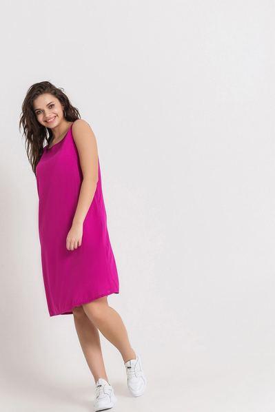 Штапельное платье майка фуксия большой размер