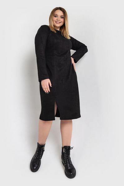 Черное платье футляр замшевое большой размер