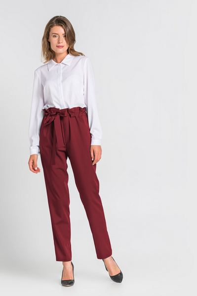 Женские брюки с кулиской из костюмной ткани бордо