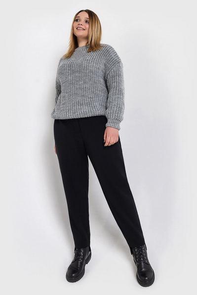 Вязаный свитер серый большой размер