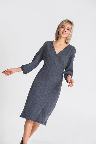 Трикотажное платье с запахом графитово-синее