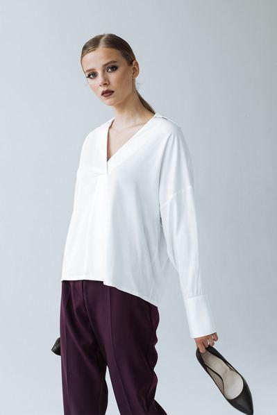 Штапельная прямая блуза белого цвета