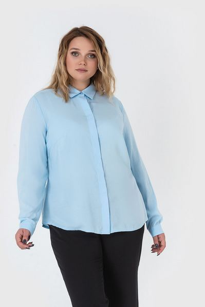 Штапельная блузка женская небесная большой размер