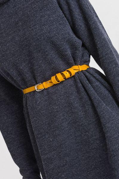 Кожаный ремень женский желтый