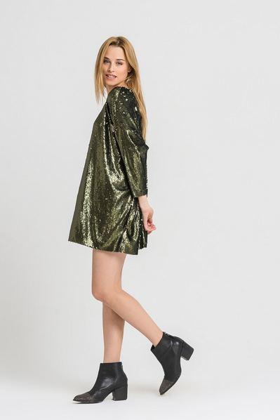 Платье мини оверсайз оливково-золотое