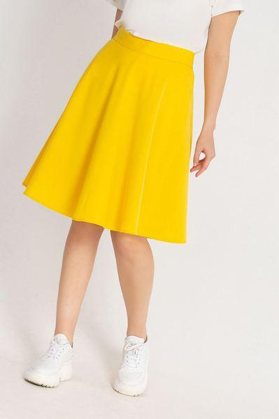 Летняя юбка полусолнце из костюмной ткани лимонная большой размер