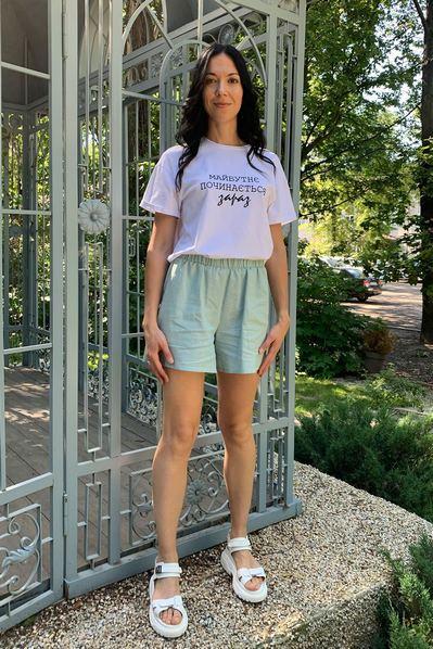 Женские шорты на резинке цвета светлый-шалфей