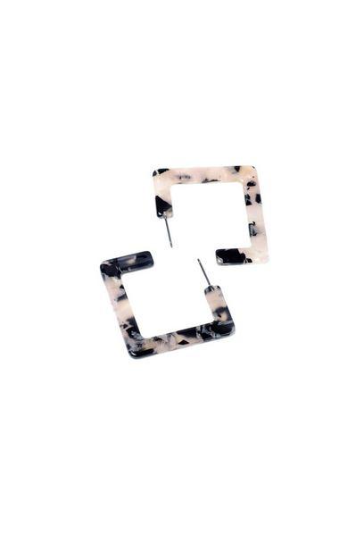 Серьги-подвески квадратные с мраморным принтом