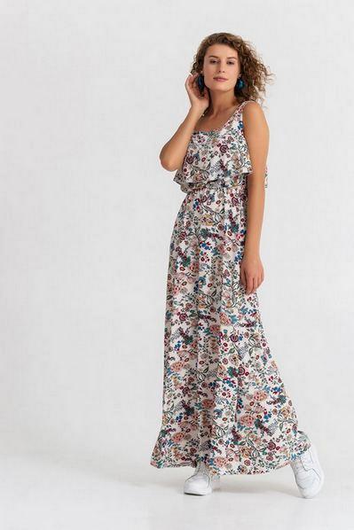 Макси платье с широкими бретелями принт цветы на ванильном