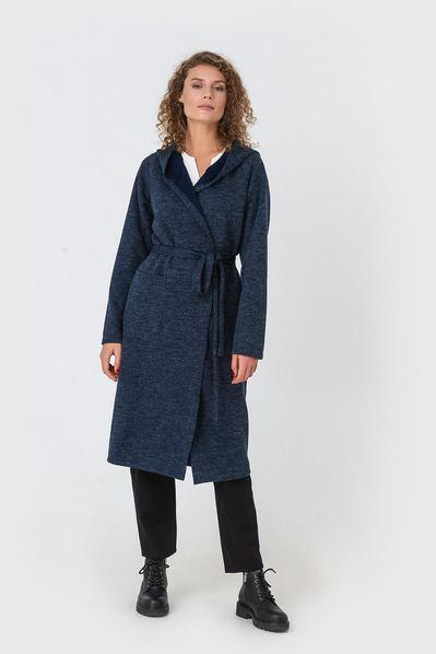 Темно-синее пальто-кардиган с капюшоном