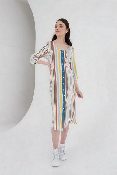 Миди платье с поясом в лаймово-небесную строчку на молочном