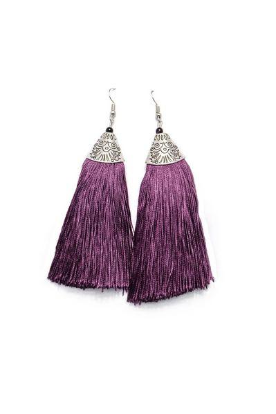 Серьги-бахрома фиолетовые