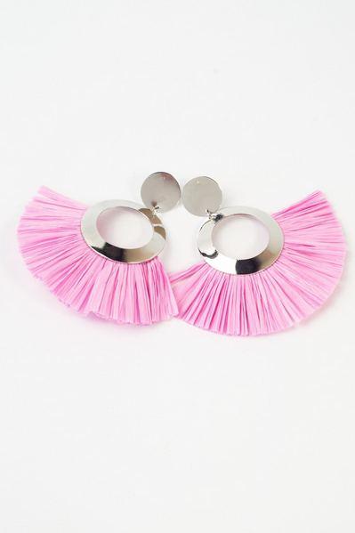 Серьги круглые с искусственной бахромой розовые