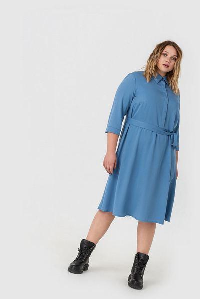 Деми платье-рубашка с юбкой-трапецией цвета ниагара большой размер