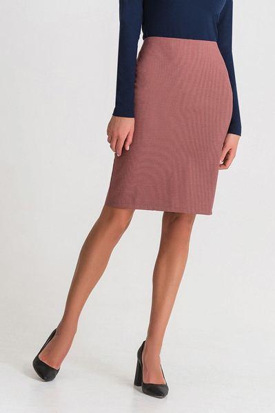 Терракотовая юбка-карандаш в мелкую клетку