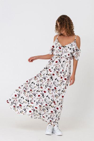 Макси платье с воланами принт цветы на молочном