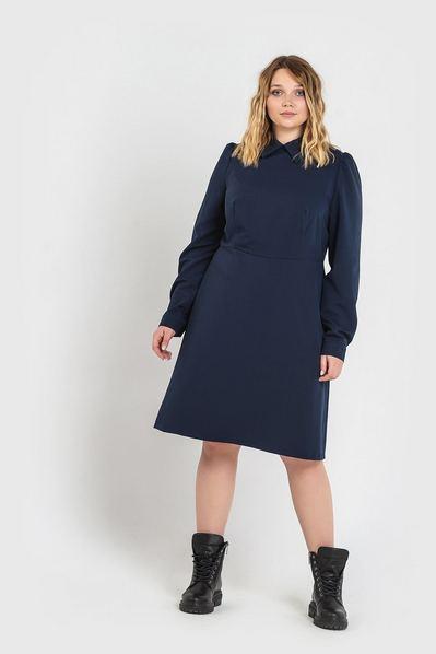 Синее платье до колен из костюмной ткани большой размер