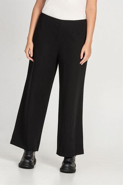 Черные брюки клеш из костюмной ткани большой размер