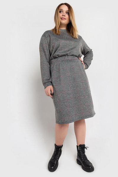Теплая юбка в клетку на графитовом фоне большой размер