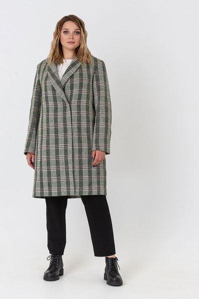 Деми пальто в клетку цвета хаки с молочным большой размер