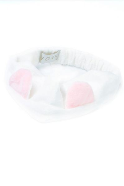 Белая плюшевая повязка с розовыми ушками