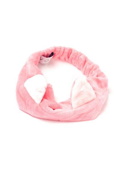Розовая плюшевая повязка с ярко-розовыми ушками