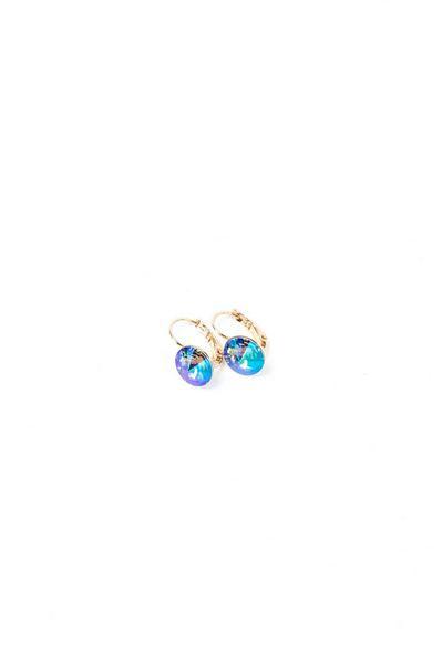 Серьги золотистые с зелено-синим кристаллом Swarovski