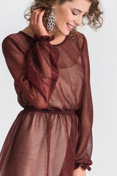 Платье с оборкой из креп-шифона красное