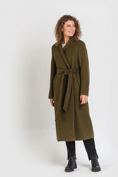 Хаки пальто с запахом и шалевым воротником
