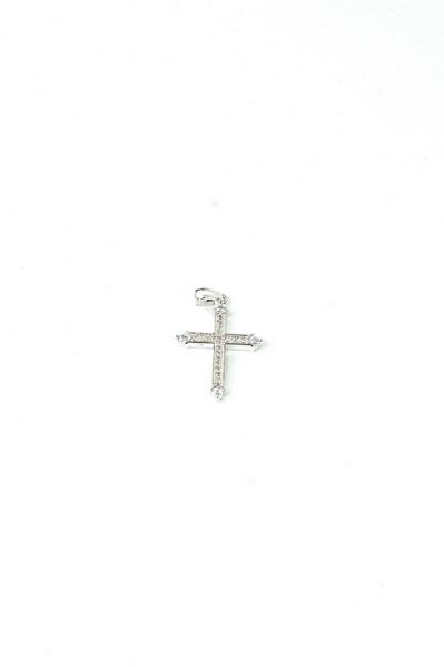 Кулон крестик серебристый с цирконием